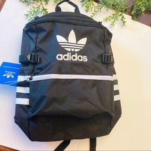 Adidas new black w white stripes backpack